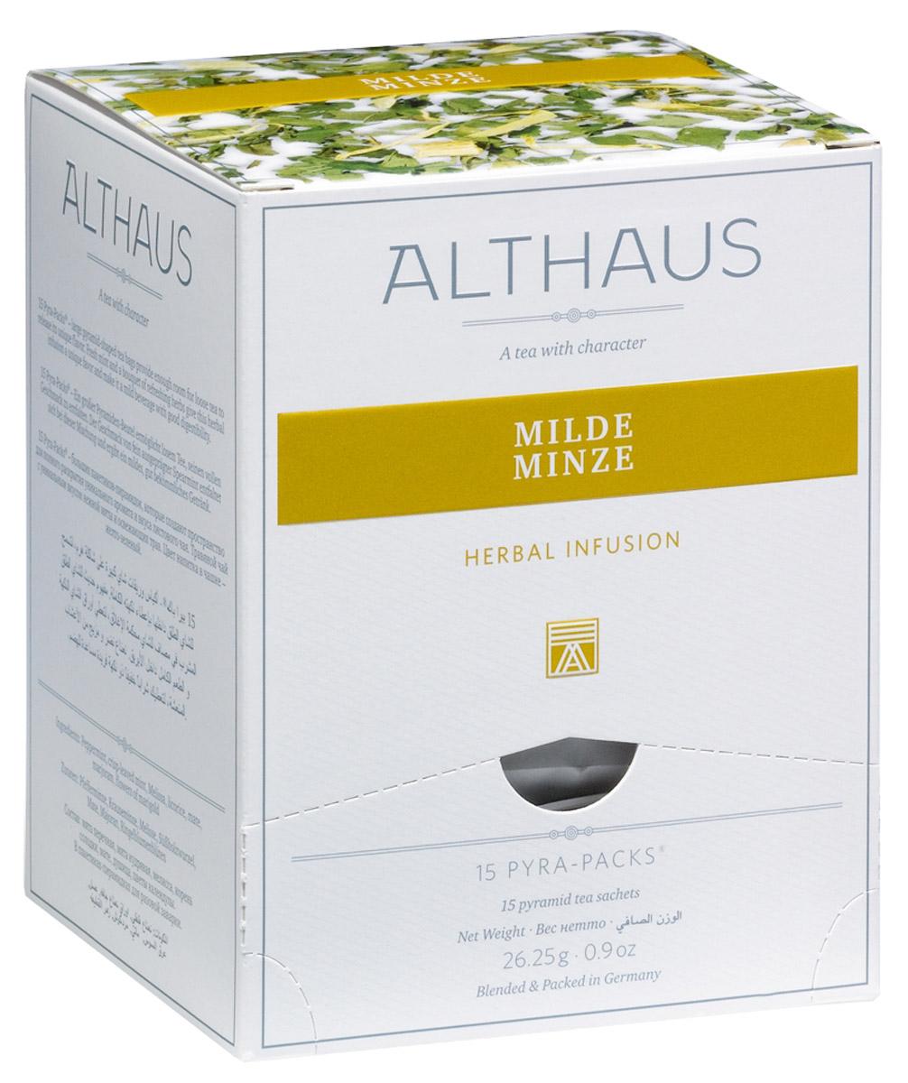 Althaus Milde Minze чайный напиток травяной в пирамидках, 15 шт101246Althaus Milde Minze - травяной купаж с пикантно-освежающим вкусом нежной сладкой мяты и целебных трав.Pyra-Pack - это коллекция из 13 купажей, в которую вошли лучшие сорта высококачественного листового чая, а также отборные смеси из цельных кусочков фруктов, ягод, цветочных лепестков, целебных трав. Pyra-Pack представляет собой инновационный вариант высокотехнологичной упаковки - нейлоновые пирамидки: Пакетики в форме пирамидок создают пространство для свободного распределения чаинок, тем самым повышая степень и скорость экстракции чая. Нейлон обладает отличной пропускной способностью, поэтому чай, заваренный в нейлоновых пирамидках, получается особо насыщенным по вкусу и ароматным. Пирамидки максимально упрощают процедуру заваривания чая, при этом сохраняя эстетический эффект традиционного чаепития.