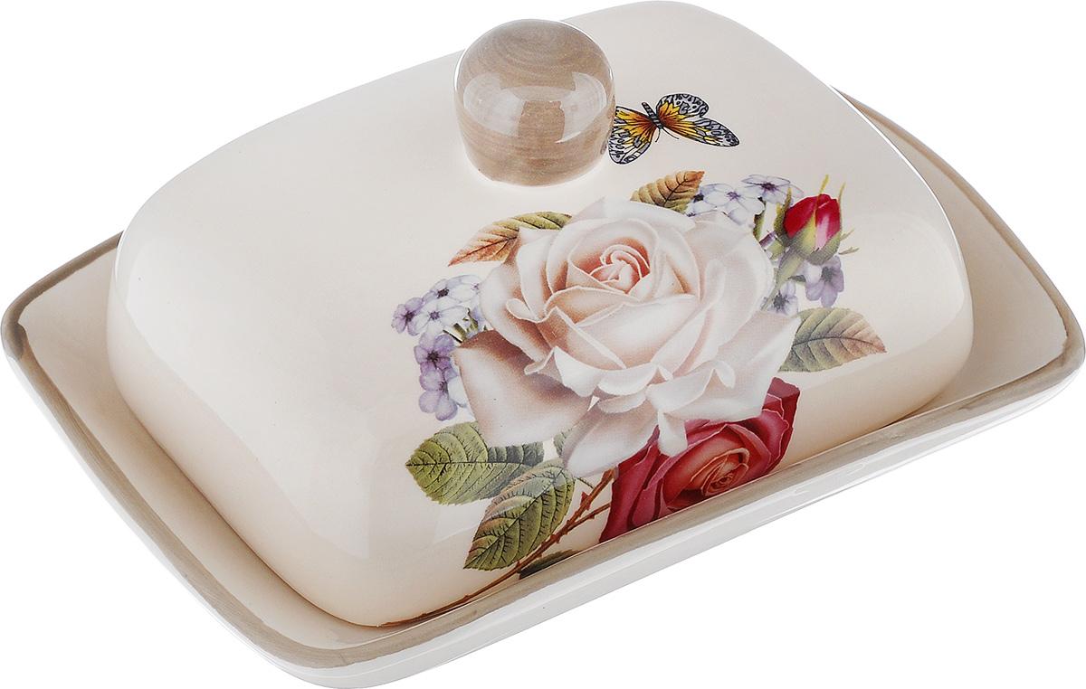 Масленка Loraine Розы. 21704115510Масленка Loraine Розы, выполненная из высококачественной керамики в виде подноса с крышкой, станет не заменимым помощником на вашей кухне. Изделие оформлено ярким изображением цветов и имеет изысканный внешний вид. Масленка предназначена для красивой сервировки стола и хранения масла.Можно мыть в посудомоечной машине, использовать в микроволновой печи и холодильнике.Размер подноса: 18 см х 13,5 см х 3 см.Высота масленки (с учетом крышки): 8 см.