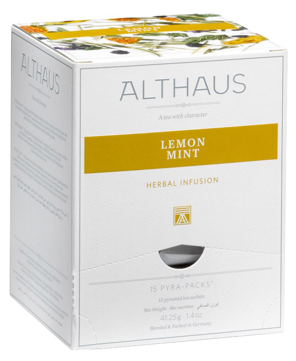 Althaus Lemon Mint чайный напиток травяной в пирамидках, 15 шт101246Лимонник и мята лежат в основе вкусового своеобразия оригинального напитка Althaus Lemon Mint. Все остальные компоненты — ягоды бузины, апельсиновая цедра, яблоко, мелисса, лепестки подсолнечника и мальвы — дополняют букет тонкими оттенками аромата и служат для создания яркого визуального эффекта.В этом купаже травянисто-цитрусовый вкус лимонника подчеркивается яркой освежающей нотой сладкой мяты и завершается пикантным имбирным оттенком. Чайный напиток станет идеальным завершением легкого завтрака, ведь он не только полезен для здоровья, но и обладает замечательным тонизирующим эффектом. Бодрящий чай с мятой и мелиссой замечательно подходит для приготовления холодных игристых коктейлей с фруктами и льдом. Pyra-Pack - это коллекция из 13 купажей, в которую вошли лучшие сорта высококачественного листового чая, а также отборные смеси из цельных кусочков фруктов, ягод, цветочных лепестков, целебных трав. Pyra-Pack представляет собой инновационный вариант высокотехнологичной упаковки - нейлоновые пирамидки: Пакетики в форме пирамидок создают пространство для свободного распределения чаинок, тем самым повышая степень и скорость экстракции чая. Нейлон обладает отличной пропускной способностью, поэтому чай, заваренный в нейлоновых пирамидках, получается особо насыщенным по вкусу и ароматным. Пирамидки максимально упрощают процедуру заваривания чая, при этом сохраняя эстетический эффект традиционного чаепития.