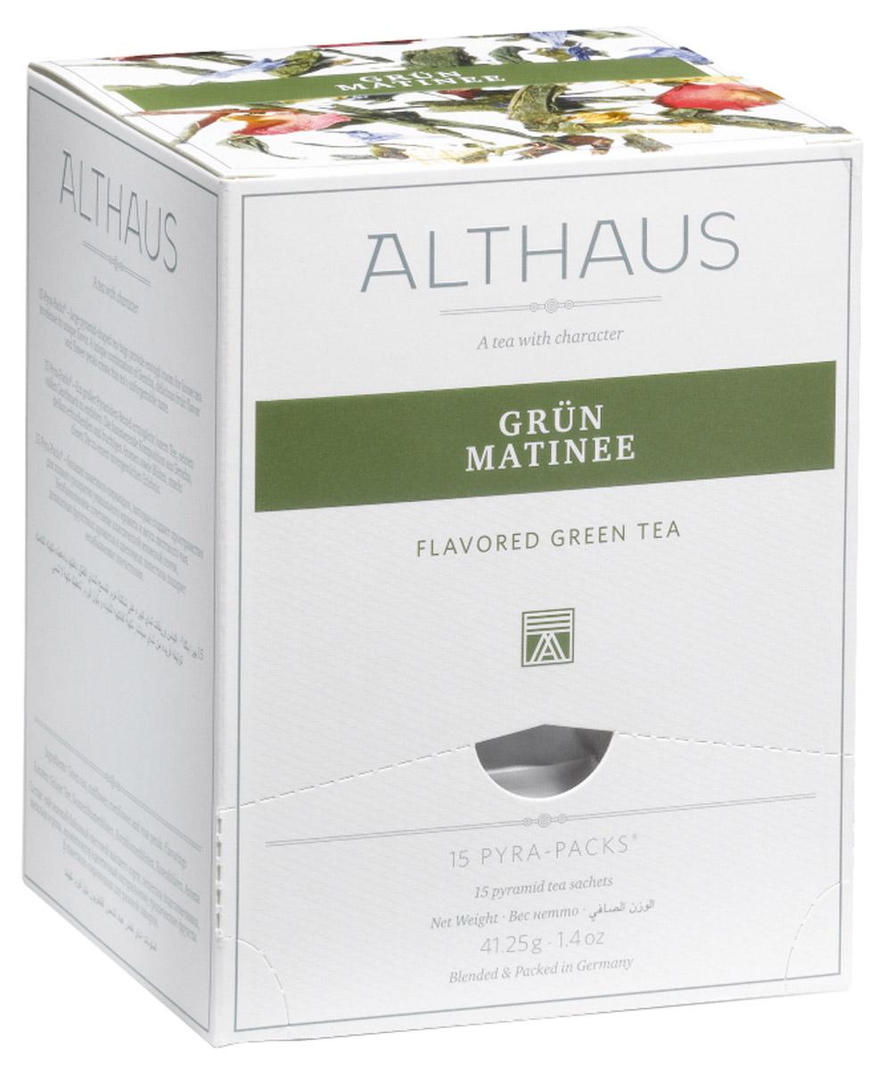 Althaus Grun Matinee чай зеленый ароматизированный в пирамидках, 15 шт0120710Althaus Grun Matinee — необыкновенный купаж классического японского зеленого чая Сенча, изысканных фруктовых ароматов и цветочных лепестков. Он дает настой с деликатным букетом и освежающим послевкусием. В нежном цветочно-фруктовом аромате чувствуются тропические нотки, пряность бергамота и медовая сладость манго.Изящные лепестки пурпурной розы, небесно-синего василька и по-летнему яркого подсолнечника органично дополняют замечательный вкус этого чая. Роза смягчает остроту зеленой Сенчи, василек и подсолнечник придают напитку утреннюю свежесть и чистоту. Утром Grun Matinee взбодрит вас терпкостью раннего зеленого чая, а вечером согреет теплыми нотами полевых цветов.Pyra-Pack - это коллекция из 13 купажей, в которую вошли лучшие сорта высококачественного листового чая, а также отборные смеси из цельных кусочков фруктов, ягод, цветочных лепестков, целебных трав. Pyra-Pack представляет собой инновационный вариант высокотехнологичной упаковки - нейлоновые пирамидки: Пакетики в форме пирамидок создают пространство для свободного распределения чаинок, тем самым повышая степень и скорость экстракции чая. Нейлон обладает отличной пропускной способностью, поэтому чай, заваренный в нейлоновых пирамидках, получается особо насыщенным по вкусу и ароматным. Пирамидки максимально упрощают процедуру заваривания чая, при этом сохраняя эстетический эффект традиционного чаепития.