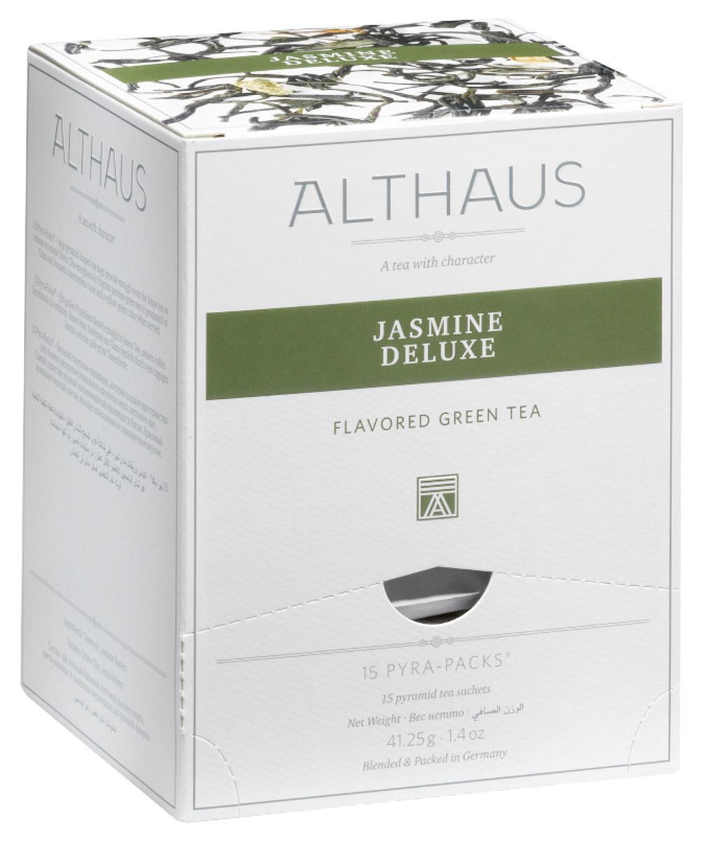 Althaus Jasmine Deluxe чай зеленый ароматизированный в пирамидках, 15 шт101246Необыкновенно изысканный зеленый чай Althaus Jasmine Deluxe отличается нежным фруктовым букетом с характерными медово-цветочными нотками. Пленительный, густой ориентально-амбровый аромат летних цветов постепенно превращается в легкий и прозрачный оттенок, напоминающий запах холодного хрустального воздуха во время первой весенней капели.Althaus Jasmine Deluxe изготавливается по традиционной китайской технологии, во время которой отборный зеленый чай смешивается с еще нераскрывшимися бутонами белоснежного жасмина. Чай, насыщенный эфирными маслами летних цветов, оказывает гармонизирующее воздействие на организм человека и обладает расслабляющим эффектом.Pyra-Pack - это коллекция из 13 купажей, в которую вошли лучшие сорта высококачественного листового чая, а также отборные смеси из цельных кусочков фруктов, ягод, цветочных лепестков, целебных трав. Pyra-Pack представляет собой инновационный вариант высокотехнологичной упаковки - нейлоновые пирамидки: Пакетики в форме пирамидок создают пространство для свободного распределения чаинок, тем самым повышая степень и скорость экстракции чая. Нейлон обладает отличной пропускной способностью, поэтому чай, заваренный в нейлоновых пирамидках, получается особо насыщенным по вкусу и ароматным. Пирамидки максимально упрощают процедуру заваривания чая, при этом сохраняя эстетический эффект традиционного чаепития.