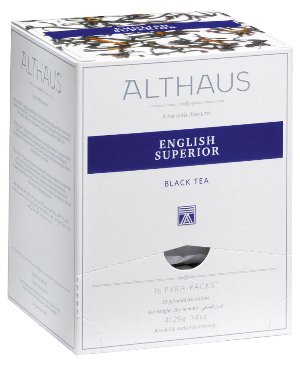 Althaus English Superior чай черный в пирамидках, 15 шт101246Althaus English Superior - немного терпкий чай с едва заметным травяным привкусом, превосходно сбалансированный, объединяющий в себе легкую мармеладную кислинку, манящую сладость теплого бисквита и огненную нотку поджаренных хлебных злаков.Напиток дает насыщенный настой с золотистым отливом и красивым глянцевитым блеском, как у свежего гречишного меда. Яркий, сочный, но очень мягкий аромат, как воздух осеннего леса, дополняется ноткой пикантной сладости спелых фруктов. После добавления свежего молока запах этого чая напоминает аромат теплого тоста с медом.Pyra-Pack - это коллекция из 13 купажей, в которую вошли лучшие сорта высококачественного листового чая, а также отборные смеси из цельных кусочков фруктов, ягод, цветочных лепестков, целебных трав. Pyra-Pack представляет собой инновационный вариант высокотехнологичной упаковки - нейлоновые пирамидки: Пакетики в форме пирамидок создают пространство для свободного распределения чаинок, тем самым повышая степень и скорость экстракции чая. Нейлон обладает отличной пропускной способностью, поэтому чай, заваренный в нейлоновых пирамидках, получается особо насыщенным по вкусу и ароматным. Пирамидки максимально упрощают процедуру заваривания чая, при этом сохраняя эстетический эффект традиционного чаепития.