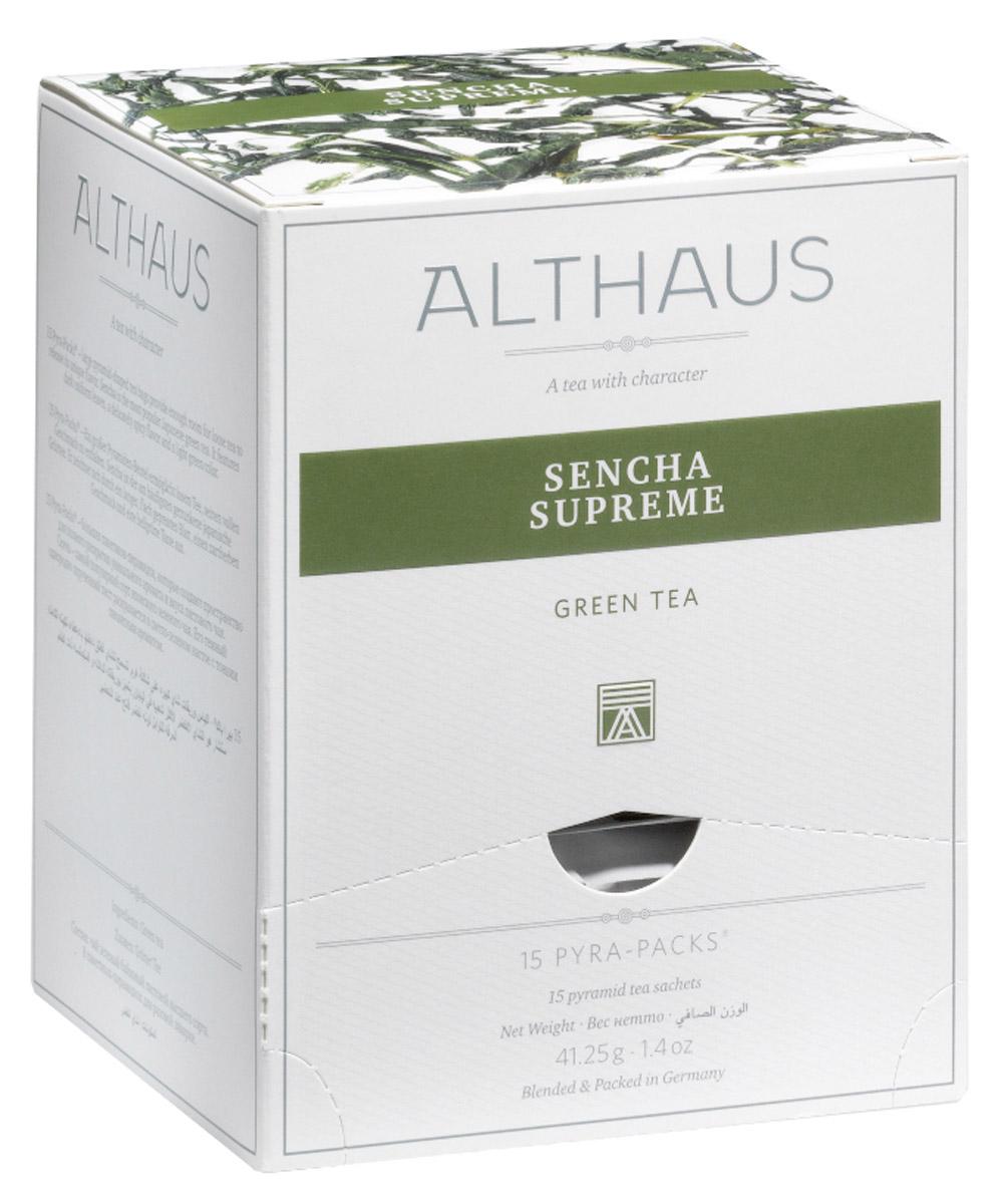 Althaus Sencha Supreme чай зеленый в пирамидках, 15 штTALTHL-L00143В чае Althaus Sencha Supreme легкие и миниатюрные, словно сосновые иголки, листочки источают нежный, но полный жизненной энергии аромат, в котором кроется приятная шелковистая сладость, приглушенные оттенки сухоцвета и свежесть зеленых бобовых стручков. Чаинки изящно танцуют в искрящемся настое светлого травянистого цвета, раскрываясь в необычном букете с воздушным морским запахом и минеральной горчинкой. Вкус этого чая удивляет: в нем мягкость сочетается с пронзительной зеленой нотой, глубокий и обволакивающий, как бархат, завершается он пряно-медовым послевкусием.Pyra-Pack - это коллекция из 13 купажей, в которую вошли лучшие сорта высококачественного листового чая, а также отборные смеси из цельных кусочков фруктов, ягод, цветочных лепестков, целебных трав. Pyra-Pack представляет собой инновационный вариант высокотехнологичной упаковки - нейлоновые пирамидки: Пакетики в форме пирамидок создают пространство для свободного распределения чаинок, тем самым повышая степень и скорость экстракции чая. Нейлон обладает отличной пропускной способностью, поэтому чай, заваренный в нейлоновых пирамидках, получается особо насыщенным по вкусу и ароматным. Пирамидки максимально упрощают процедуру заваривания чая, при этом сохраняя эстетический эффект традиционного чаепития.