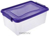 """Контейнер для хранения """"Idea"""", прямоугольный, цвет: прозрачный, фиолетовый, 25 л"""