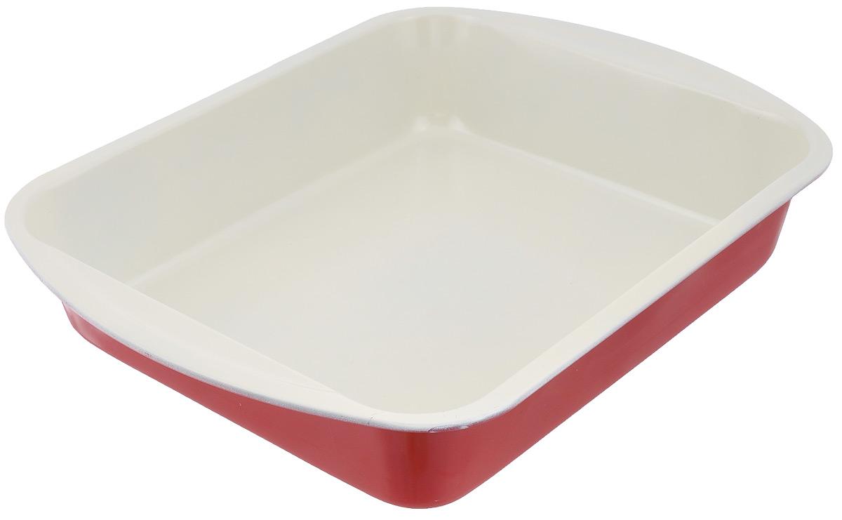 Форма для запекания лазаньи Mayer & Boch Unico, прямоугольная, с керамическим покрытием, цвет: слоновая кость, красный, 35 х 27 см68/5/4Прямоугольная форма для запекания Mayer & Boch Unico выполнена из высококачественной углеродистой стали с керамическим покрытием, что обеспечивает форме прочность и долговечность. Форма равномерно и быстро прогревается, что способствует лучшему пропеканию пищи. Данную форму легко чистить. Готовая выпечка без труда извлекается из нее. Форма оснащена двумя удобными ручками. Изделие устойчиво к воздействию фруктовых кислот. С помощью формы легко готовить лазанью, запекать мясо и овощи. Форма подходит для использования в духовке с максимальной температурой 250°С. Перед каждым использованием форму необходимо смазать небольшим количеством масла. Чтобы избежать повреждений керамического покрытия, не используйте металлические или острые кухонные принадлежности. Размер формы (с учетом ручек): 35 х 27 см.Высота формы: 6,5 см.Толщина стенок: 0,6 мм.