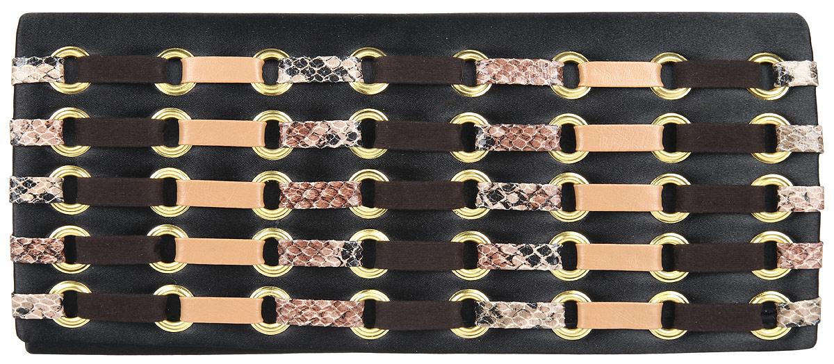 Клатч женский Eleganzza, цвет: черный, бежевый, коричневый. ZZ-12638579995-400Великолепный женский клатч Eleganzza выполнен из полиэстера.Изделие имеет одно основное отделение, внутри которого имеется открытый накладной карман. Закрывается клатч на клапан с магнитной кнопкой. Клапан оформлен люверсами и вставками из искусственной кожи.Модель оснащена плечевым ремнем в виде цепочки.Роскошный клатч внесет элегантные нотки в ваш образ и подчеркнет ваше отменное чувство стиля.