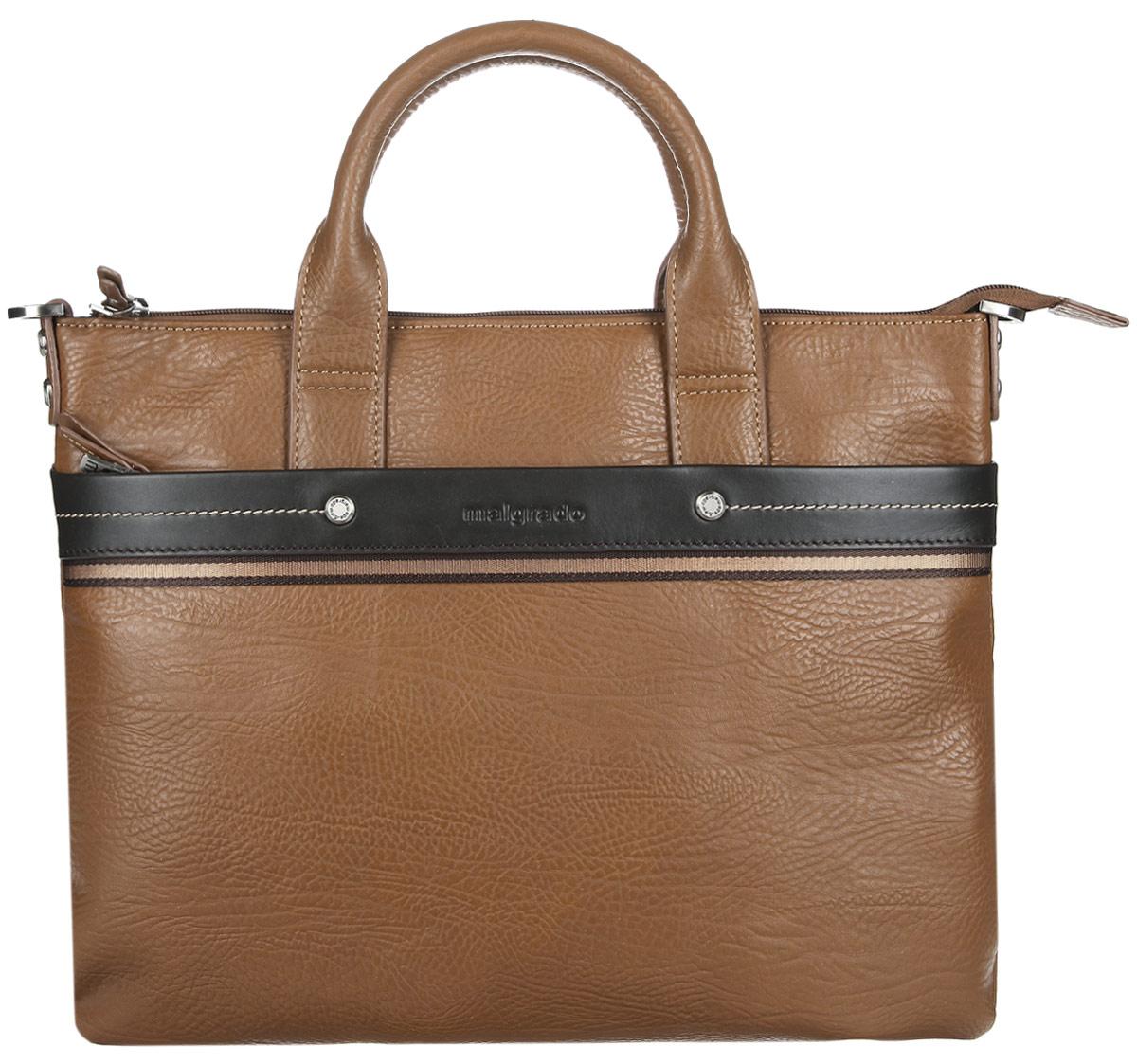 Сумка мужская Malgrado, цвет: светло-коричневый, коричневый. BR09-318B4932S76245Стильная мужская сумка Malgrado выполнена из натуральной кожи с зернистой фактурой, оформлена металлической фурнитурой с символикой бренда и контрастной строчкой.Сумка содержит одно отделение, которое закрывается на застежку-молнию. Внутри изделия расположены врезной карман на застежке-молнии и органайзер, состоящий из трех кармашков для кредитных карт, двух накладных карманов и двух кожаных фиксаторов для письменных принадлежностей. Снаружи, на задней стороне сумки, расположен накладной карман на магнитной кнопке. Лицевая сторона сумки дополнена мягким накладным карманом на молнии. Сумка оснащена двумя практичными ручками и съемным плечевым ремнем регулируемой длины, которые позволят носить изделие, как в руках, так и на плече.Практичный аксессуар позволит вам завершить образ и подчеркнуть деловой стиль.