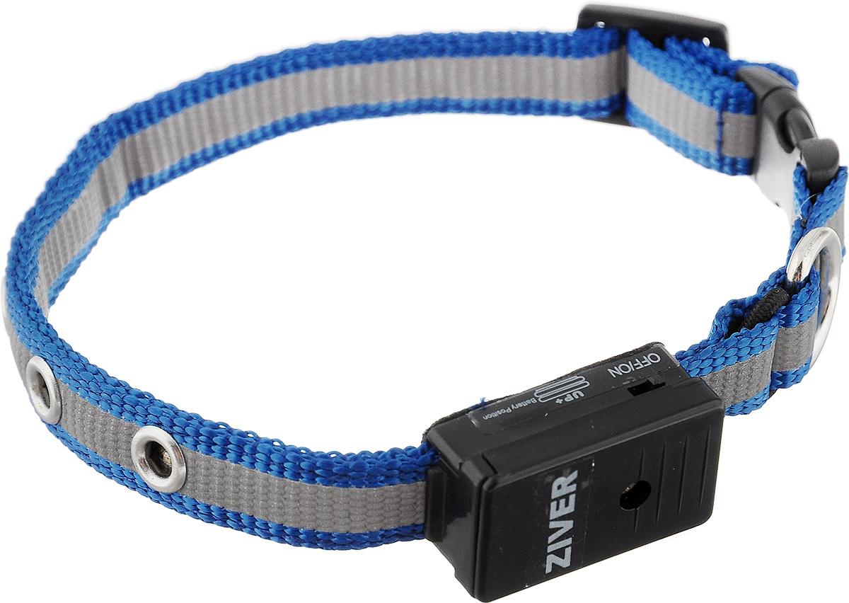 Ошейник Ziver Sensor для кошек и собак мелких пород, светящийся, цвет: голубой, серый0120710Светящийся ошейник Ziver Sensor - это очередная новинка для мелких животных от компании ZIVER.Ошейник идеален для кошек и собак мелких пород, он поможет видеть их при прогулке в темное время суток, и теперь вы не потеряете их из виду. Ziver Sensor обезопасит ваше животное от попадания под автомобиль, так как водитель сможет заметить приближающуюся собаку на расстоянии до 800 метров. Мигает красными огнями. Ошейник работает в режиме автоматического включения при наступлении темноты, для включения этой функции поставьте выключатель в положение ON, для выключения - в положение OFF. Особенности ошейника:- автоматическое включение при наступлении темноты;- кнопка выключения светосенсора;- в темное время суток виден на расстоянии до 800 метров; - время работы батарейки - 40 часов; - крепкий и надежный карабин; - регулируемый размер;- мягкая подкладка комфортна для животного;- работает при температуре от -5°C до +30°C;- оснащен светоотражающей полоской; - влагозащищен от дождя и снега (не рекомендуем погружать в воду батарейный блок). Работает от двух батареек типа AG10 (входят в комплект). Длина ошейника: 25-27 см. Ширина ошейника: 1,2 см.