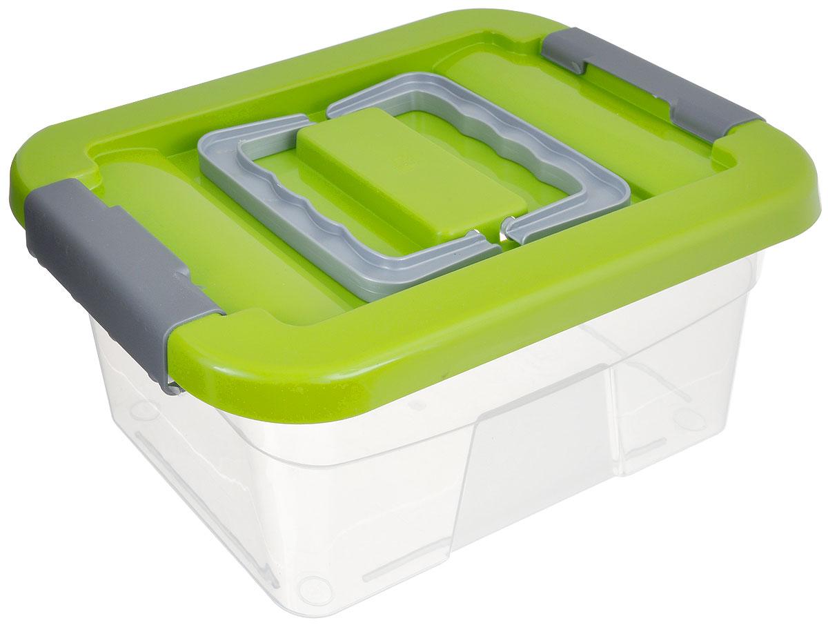 Контейнер хозяйственный Gensini, цвет: прозрачный, салатовый, 5 л28907 4Хозяйственный контейнер Gensini, выполненный из пластика, предназначен для надежного хранения вещей. Крышка контейнера закрывается по бокам на две защелки, которые предотвращают случайное открывание. Также на крышке имеются две складные ручки для удобной переноски.Размер: 29 х 19,5 х 13,5 см.