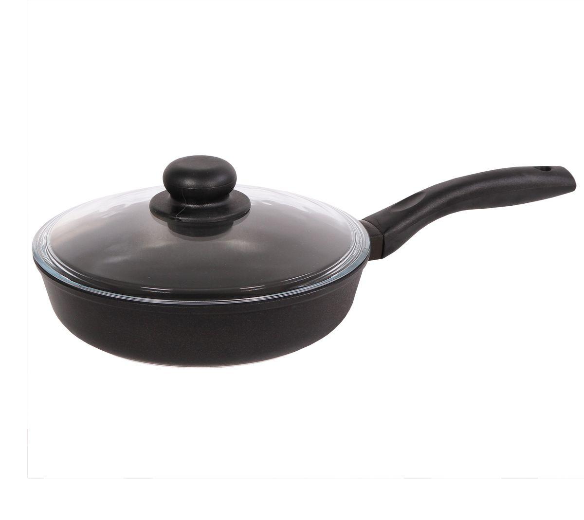 Сковорода Биол Классик с крышкой, с антипригарным покрытием. Диаметр 20 см391602Сковорода Биол, выполненная из литого алюминия с утолщенным дном, оснащена удобной бакелитовой ручкой и стеклянной крышкой. Благодаря внутреннему антипригарному покрытию пища не пригорает и не прилипает к стенкам. Готовить можно с минимальным количеством масла и жиров. Гладкая поверхность обеспечивает легкость ухода за посудой. Посуда равномерно распределяет тепло и обладает высокой устойчивостью к деформации, легкая и практичная в эксплуатации. Подходит для использования на электрических, газовых и стеклокерамических плитах. Не подходит для индукционных плит. Можно мыть в посудомоечной машине. Диаметр сковороды: 20 см. Высота стенки: 4,6 см. Длина ручки: 15,5 см.