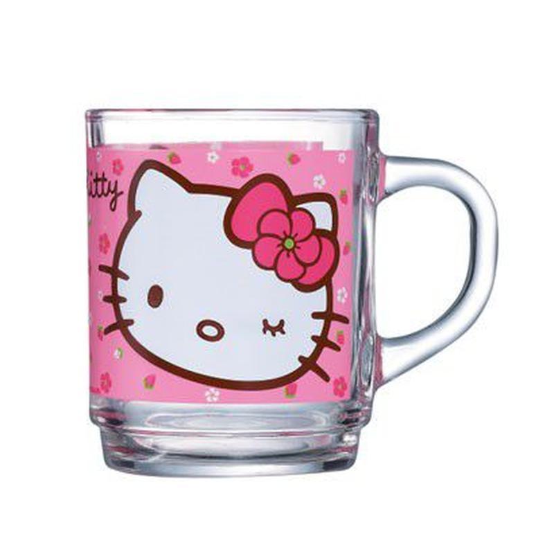 Кружка Luminarc Hello Kitty Sweet Pink, 250 мл115510Кружка Hello Kitty Sweet Pink надежной французской марки Luminarc понравится всем маленьким любительницам котенка Китти. Прозрачная кружка современной формы украшена ярким принтом с изображением милой Китти на нежно-розовом фоне. Она выполнена из ударопрочного стекла с антибактериальным покрытием, что важно для детской посуды. Кружка подходит для использования в микроволновой печи и посудомоечной машине.Объем кружки: 250 мл.Высота кружки: 9 см.Диаметр кружки: 7 см.