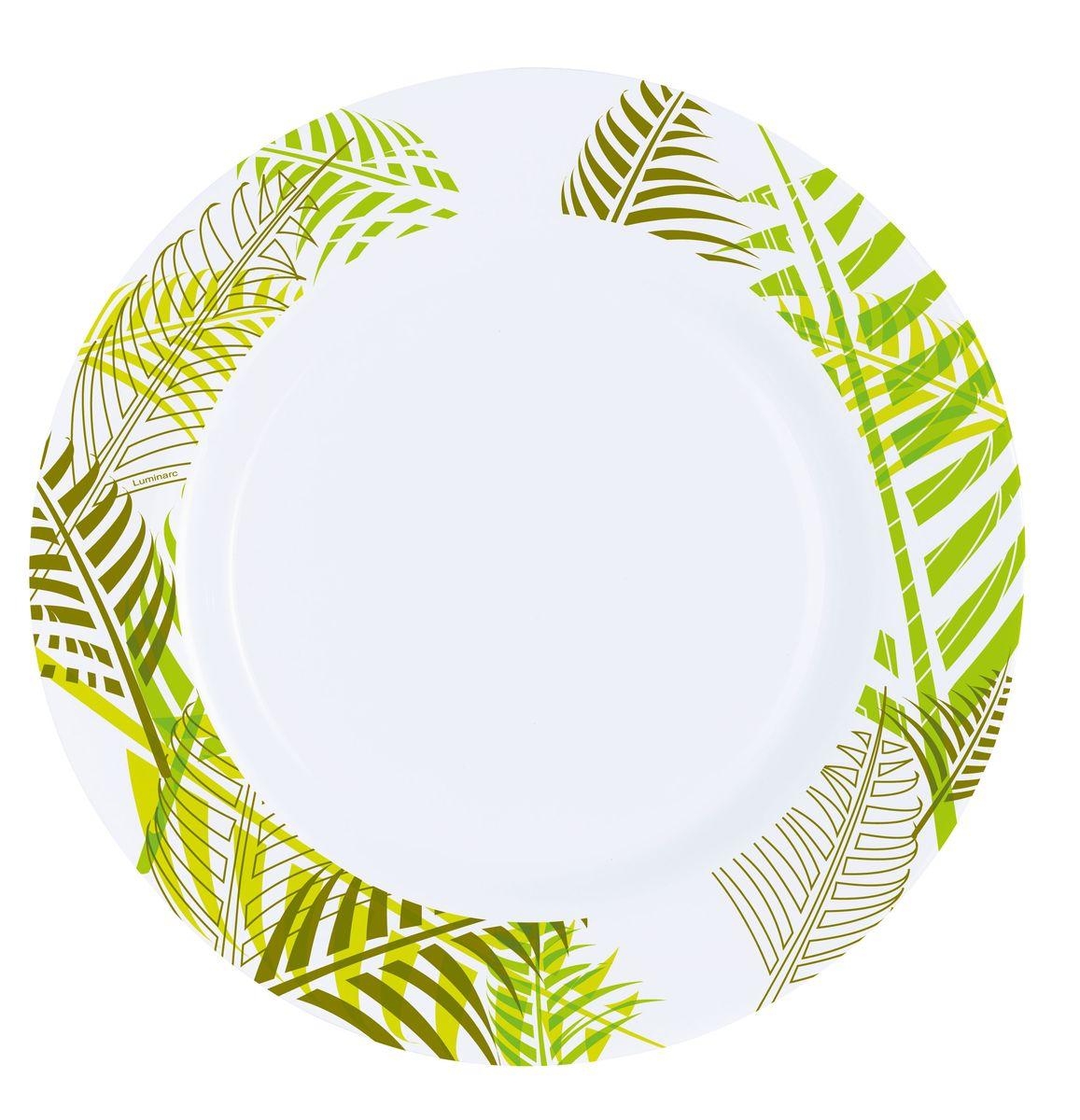 Тарелка обеденная Luminarc Green Forest, диаметр 26,5 см115510Обеденная тарелка Luminarc Green Forest, изготовленная из ударопрочного стекла, декорирована оригинальным орнаментом в виде листьев. Такая тарелка прекрасно подходит как для торжественных случаев, так и для повседневного использования. Идеальна для подачи вторых блюд. Она прекрасно оформит стол и станет отличным дополнением к вашей коллекции кухонной посуды. Можно использовать в СВЧ и мыть в посудомоечной машине.
