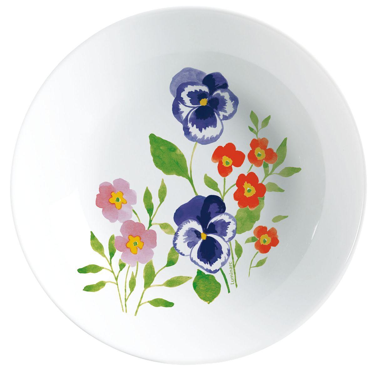 Тарелка глубокая Luminarc Magda, диаметр 27 см54 009312Глубокая тарелка Magda надежной марки Luminarc - интересное решение для кухонь и столовых в классическом и современном дизайне. Глянцевая тарелка с нежным цветочным рисунком - отличный вариант для дачи или загородного дома. Тарелка изготовлена из ударопрочного стекла, которое не впитывает запахи и обладает антибактериальными свойствами. Ее можно мыть в посудомоечной машине и использовать в микроволновой печи.