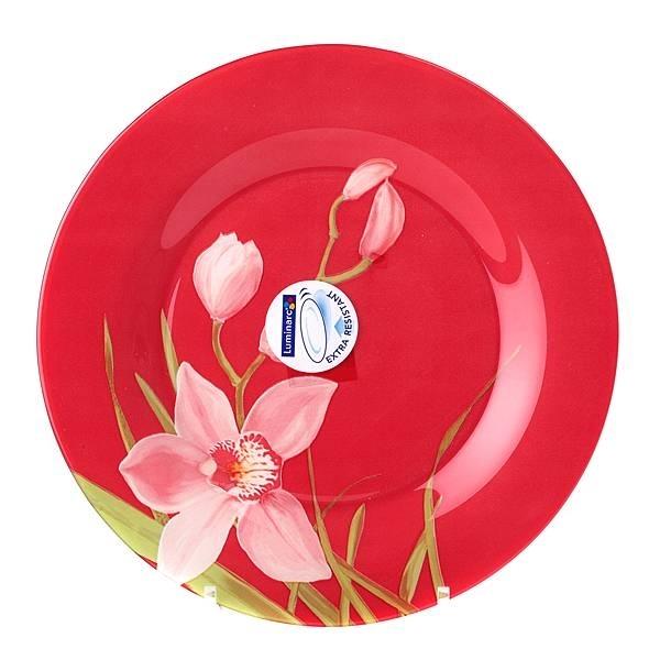Тарелка Luminarc Red Orchis, диаметр 25 см115510Тарелка Luminarc Red Orchis, диаметром 25 см, изготовлена из ударопрочного, закаленного стекла, способного выдерживать значительные перепады температуры. Она подойдет для сервировки вторых блюд, а также ее можно использовать, как блюдо для подачи закусок. Яркая и красочная тарелка украсит как повседневный, так и праздничный стол.Тарелка не нуждается в особо бережном уходе, её можно мыть в посудомоечной машине и использовать в СВЧ.