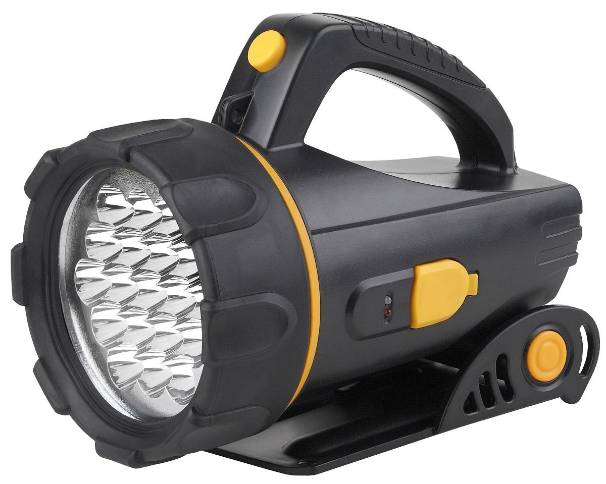 Фонарь ручной ЭРА FA18E, цвет: черныйKOC2028LEDфонарь-прожектор имеет 19 сверх ярких светодиодов, складывающаяся, регулируемая по высоте подставка снизу, а так же ручка сверху, что позволяет использовать фонарь и как стационарный, и переносной.Источники питания: аккумулятор. Питание: Аккумулятор 4V 2Ah.Аккумулятор: 4 В. Емкость аккумулятора: 2000 Ач. Тип лампы: светодиодная.