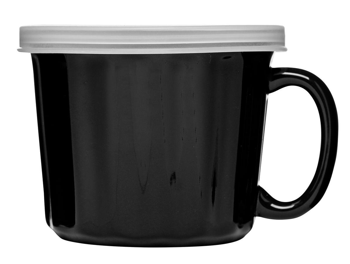 Кружка для супа Sagaform, с крышкой, цвет: черный115510Постоянно в пути? Негде перекусить? Тогда кружка для супа с крышкой Sagaform создана специально для вас! Она выполнена из керамики, а крышка - из пластика. Вас поразят качество исполнения и высокая герметичность. В каком бы положении ни оказалась кружка, суп не прольется и не испачкает салон авто или сумку. Удобная ручка защищает руки от действия температуры. Вы не обожжетесь, даже если суп только что снят с плиты. Наслаждайтесь жизнью всегда. Ну а своевременный прием пищи - это одна из частичек удовольствия!