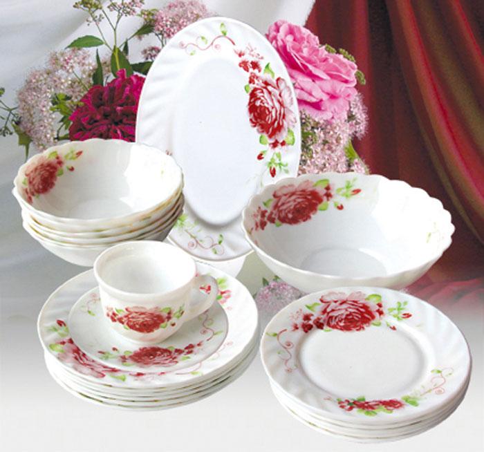 Набор столовой посуды Huimeida Римини, 32 предметаS-03 g TongoНабор Huimeida Римини состоит из 6 обеденных тарелок, 6 десертных тарелок, 6 суповых тарелок, 6 чашек, 6 блюдец, салатника и овального блюда. Изделия выполнены из высококачественной стеклокерамики и оформлен изящным цветочным рисунком. Посуда отличается прочностью, гигиеничностью и долгим сроком службы, она устойчива к появлению царапин и резким перепадам температур. Такой набор прекрасно подойдет как для повседневного использования, так и для праздников. Набор столовой посуды Huimeida Римини - это не только яркий и полезный подарок для родных и близких, а также великолепное дизайнерское решение для вашей кухни или столовой. Можно мыть в посудомоечной машине и использовать в микроволновой печи. Диаметр обеденной тарелки (по верхнему краю): 20 см. Высота обеденной тарелки: 2 см.Диаметр десертной тарелки (по верхнему краю): 17,5 см. Высота десертной тарелки: 1,7 см. Диаметр суповой тарелки (по верхнему краю): 17,5 см.Высота суповой тарелки: 5,6 см.Диаметр салатника (по верхнему краю): 22 см.Высота салатника: 7 см.Размер блюда: 25 см х 17 см х 2 см.Диаметр блюдца (по верхнему краю): 13,5 см.Высота блюдца: 1,6 см.Диаметр чашки (по верхнему краю): 8 см.Высота чашки: 6,5 см.Объем чашки: 200 мл.