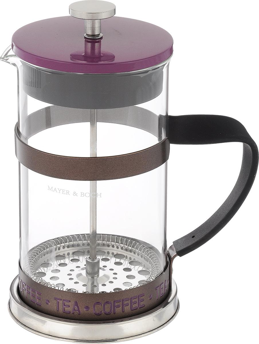 Френч-пресс Mayer & Boch, цвет: прозрачный, фиолетовый, 1 л391602Френч-пресс Mayer & Boch изготовлен из высококачественной нержавеющей стали и жаропрочного стекла. Фильтр-поршень выполнен по технологии press-up и оснащен ситечком для обеспечения равномерной циркуляции воды. Засыпая чайную заварку или кофе под фильтр, заливая горячей водой, вы получаете ароматный напиток с оптимальной крепостью и насыщенностью. Остановить процесс заваривания легко, для этого нужно просто опустить поршень, и все уйдет вниз, оставляя вверху напиток, готовый к употреблению. Кофейник оснащен эргономичной прорезиненной ручкой, она обеспечит безопасный и удобный хват. Такой френч-пресс Mayer & Boch позволит быстро и просто приготовить свежий и ароматный кофе или чай. Можно мыть в посудомоечной машине. Не использовать в микроволновой печи.Диаметр колбы (по верхнему краю): 9,5 см. Высота френч-пресса (без учета крышки): 18,5 см.Высота френч-пресса (с учетом крышки): 21,5 см. Объем френч-пресса: 1 л.