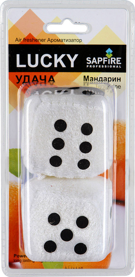 Ароматизатор для салона автомобиля Sapfire Lucky, цвет: белый, черный, мандаринTB 08Подвесной ароматизатор для салона автомобиля Sapfire Lucky имеет приятный аромат мандарина. Ароматизатор, выполненный из текстиля в виде двух игральных кубиков, предназначен для автомобиля, а также для небольших помещений. Крепится ароматизатор с помощью шнурка и присоски. Lucky - новое поколение концентрированных ароматизаторов. Парфюмерная композиция произведена в Японии. Обеспечивает стойкий насыщенный аромат и свежий запах.Состав: полимеры, ароматические масла. Размер ароматизатора: 6 см х 6 см х 5,5 см.