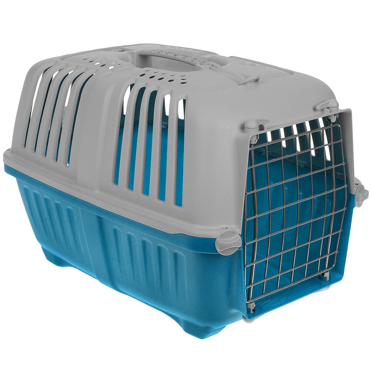 Переноска для животных MPS Pratiko, цвет: серый, голубой, 48 см х 31,5 см х 33 см0120710Переноска MPS Pratiko, выполненная из легкого пластика, прекрасно подойдет для транспортировки кошек и собак мелких пород. Дно переноски снабжено устойчивыми ножками. Крышка с отверстиями для вентиляции оснащена влитой ручкой для большей безопасности при транспортировке и двумя петлями для крепления ремня. Крышка и металлическая дверь крепится к поддону на поворотные фиксаторы. Переноска легко собирается.