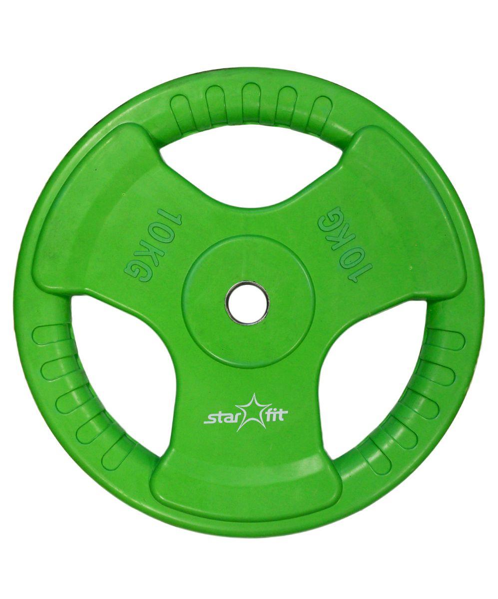 Диск обрезиненный Starfit BB-201, посадочный диаметр 26 мм, 10 кг0003954Диск Star Fit BB-201 подходит для гантелей и грифов диаметром 26 мм. Изготовлен из прочного металла и имеет резиновое покрытие. Высокое качество обеспечивает безопасность занятий спортом. Диск оснащен стальной втулкой и 3 удобными ручками для загрузки и снятия диска со штанги.Для домашних условий чаще всего применяются обрезиненные диски со специальным покрытием, которые не царапают пол и не гремят, привлекая излишнее внимание соседей. При покупке дисков обязательно обращайте внимание на допустимый вес, который может выдержать гриф.Посадочный диаметр: 26 мм.Вес: 10 кг.