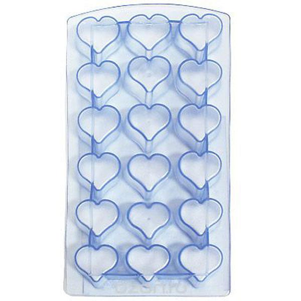 Форма для льда Metaltex Сердце, цвет: синий, 18 ячеекVT-1520(SR)Форма для льда Metaltex Сердце выполнена из силикона. На одном листе расположено 18 формочек в виде сердец. Благодаря тому, что формочки изготовлены из силикона, готовый лед вынимать легко и просто. Чтобы достать льдинки, эту форму не нужно держать под теплой водой или использовать нож. Теперь на смену традиционным квадратным пришли новые оригинальные формы для приготовления фигурного льда, которыми можно не только охладить, но и украсить любой напиток. В формочки при заморозке воды можно помещать ягодки, такие льдинки не только оживят коктейль, но и добавят радостного настроения гостям на празднике!Размер общей формы: 23 см х 11,5 см х 2,5 см.Размер одной формочки: 3 см х 3 см.
