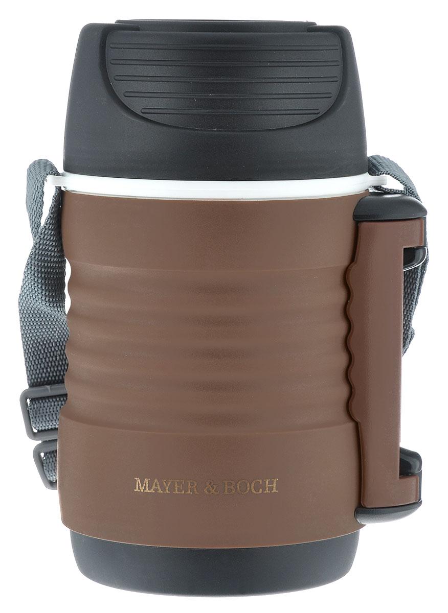 Термос пищевой Mayer & Boch, цвет: кофейный, черный, 700 мл115510Пищевой термос Mayer & Boch пригодится в любой ситуации: будь то экстремальный поход, пикник, поездка, или вы просто хотите взять с собой домашнюю еду в офис. Корпус термоса выполнен из цветного пищевого полипропилена. На корпусе термоса для удобства переноски предусмотрены ручка и ремень.Колба термоса изготовлена из прочной нержавеющей стали, которая устойчива к механическим повреждениям, она не разобьется при падении и не треснет от резкого перепада температуры. В широкое горлышко термоса помещены два контейнера с крышками, изготовленные из пищевого полипропилена белого цвета. Крышки легко открывается и плотно закрывается с помощью легкого щелчка. Термос Mayer & Boch - это идеальный вариант для переноски нескольких разных блюд. В него поместится все необходимое, и вы в любое время сможете вкусно и быстро пообедать.Диаметр термоса (по верхнему краю): 9 см. Высота термоса (без учета крышки): 17,6 см.Диаметр контейнеров: 8 см. Высота контейнеров: 8,7 см; 5 см.