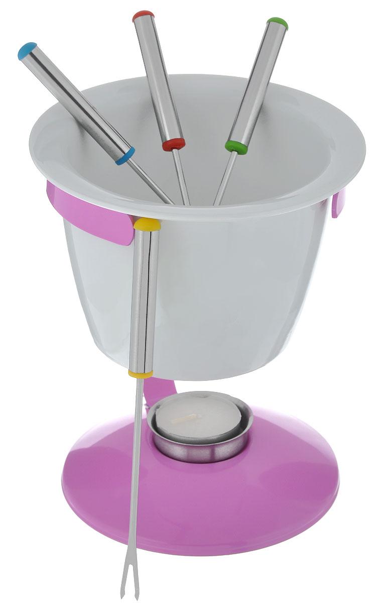 Набор для фондю Mayer & Boch, цвет: розовый, белый, 8 предметов115510Набор для фондю Mayer & Boch станет не заменимым помощником на вашей кухне. В набор входят: подставка под чашу, керамическая чаша, подставка под свечу, свеча и 4 вилочки с пластиковыми элементами на ручке. В центр подставки устанавливается свеча-таблетка, сверху ставится чаша.В чашечке растапливается сыр, шоколад - все что угодно, на вилочки насаживается хлеб, кусочки мяса, рыба, зефир или фрукты (к шоколаду) - и вот нехитрый, но очень привлекательный способ украсить вечер в компании самых дорогих и любимых. Набор для фондю Mayer & Boch имеет красивый и современный дизайн. Он прекрасно будет смотрится на столе и предаст вашему ужину праздничное настроение.Таинственное мерцание свечи-таблетки добавит романтики и ощущение тепла.Диаметр чаши (по верхнему краю): 14 см.Высота чаши: 9 см.Длина вилочки: 16 см.Размер подставки под свечу: 4,7 см х 4,7 см х 1,2 см.Размер свечи: 4 см х 4 см х 1,3 см.Размер подставки под чашу: 16 см х 12 см х 18 см.