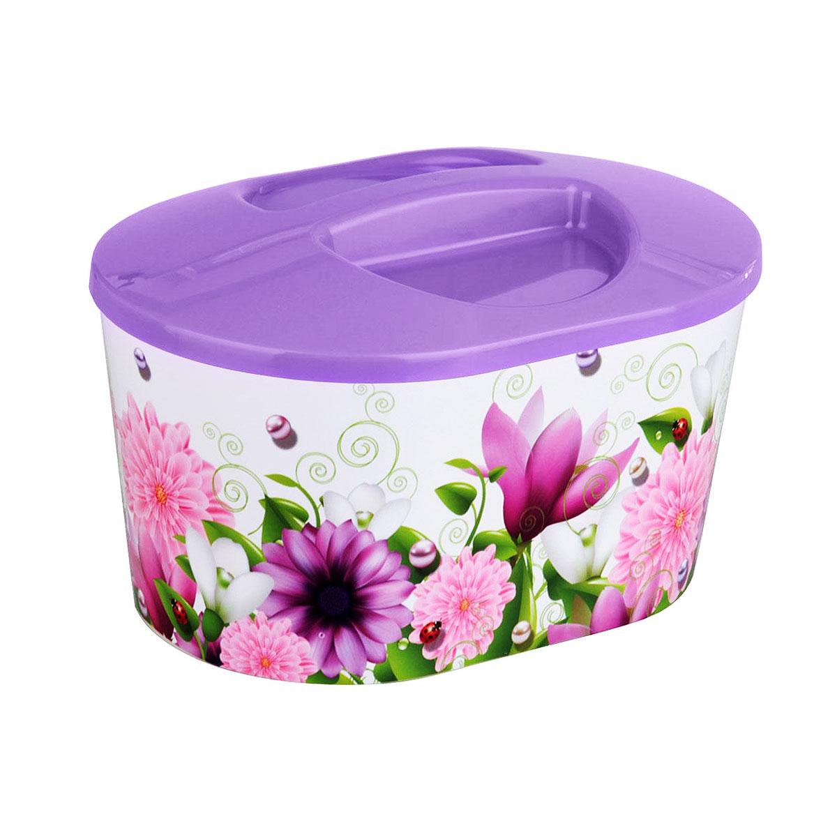 Контейнер-шкатулка Альтернатива Лира, 24 х 17,5 х 15 см4160_фиолетовыйКонтейнер-шкатулка Альтернатива Лира предназначен для хранения мелких вещей. Он выполнен из пластика и декорирован ярким цветочным рисунком. Оснащен крышкой. В таком контейнере удобно хранить канцелярские принадлежности, медикаменты, принадлежности для шитья и другие мелкие вещи. Он поможет хранить все в одном месте, а также защитить вещи от пыли, грязи и влаги.