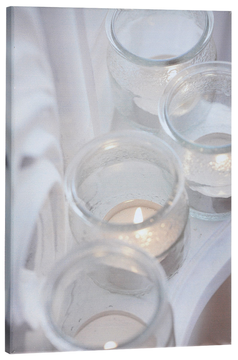 Картина MTH Свечи в стекле, со светодиодами, 30 х 40 см1210Картина MTH Свечи в стекле выполнена на основе из МДФ, обтянутой холстом.Изделие оснащено светодиодами. Их теплый мерцающий в темноте светоживит ваш дом и добавит ему уюта. На картине изображены 3 декоративные свечи. Благодаря светодиодной подсветке создается ощущение, что теплый свет, исходящий от свечей, действительно может согревать. С оборотной стороны картина оснащена специальным отверстием для подвешивания на стену.Необычная картина придаст интерьеру невероятного шарма и оригинальности.Рисунок успокаивает нервную систему, помогая расслабиться и отвлечься отповседневных забот. Подсветка работает от 2 батареек типа АА напряжением 1,5V (в комплект не входят).