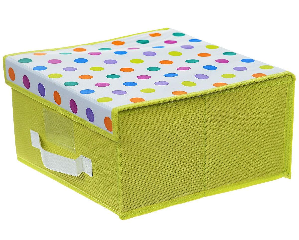 Чехол-коробка Voila Кидс, цвет: салатовый, белый, 30 х 40 х 25 см370044Чехол-коробка Voila Кидс поможет легко и красиво организовать пространство в детской комнате. Изделие выполнено из полиэстера и нетканого материала, прочность каркаса обеспечивается наличием внутри плотных и толстых листов картона. Чехол-коробка закрывается крышкой на две липучки, что поможет защитить вещи от пыли и грязи. Сбоку имеется ручка. Такой чехол идеально подойдет для хранения игрушек и детских вещей. Яркий дизайн изделия привлечет внимание ребенка и вызовет у него желание самостоятельно убирать игрушки. Складная конструкция обеспечивает компактное хранение.