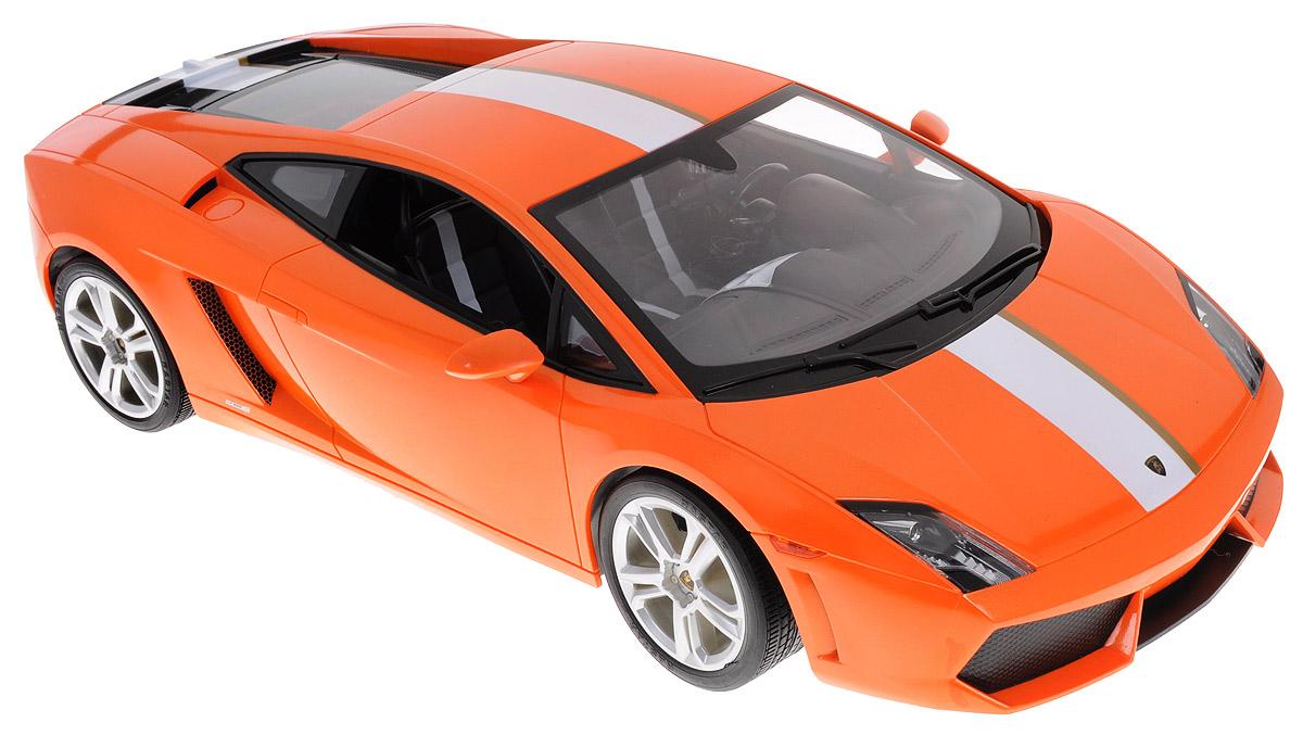 """Радиоуправляемая модель Rastar """"Lamborghini Gallardo LP550-2"""", выполненная из прочного пластика с металлическими элементами, является точной уменьшенной копией настоящего автомобиля в масштабе 1:10. Модель привлечет внимание не только ребенка, но и взрослого. Машина при помощи пульта управления движется вперед, дает задний ход, поворачивает влево и вправо, останавливается. Автомобиль обладает высокой стабильностью движения, что позволяет полностью контролировать его процесс, управляя уверенно и без суеты. Модель оснащена световыми эффектами. Такая модель автомобиля станет отличным подарком не только автолюбителю, но и человеку, ценящему оригинальность и изысканность, а качество исполнения представит такой подарок в самом лучшем свете. Машина работает от сменного аккумулятора типа АА (входит в комплект), пульт управления работает от батарейки 9V типа """"Крона"""" (не входит в комплект)."""