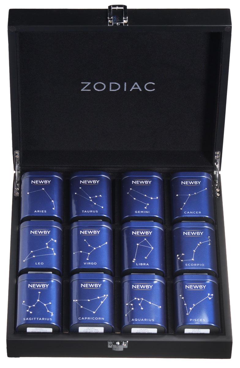 Newby Zodiac Gift set подарочный набор листового чая, 12 видов1071Коллекция Newby Zodiac состоит из 12 сортов классических черных, зеленых чаев и улунов, упакованных в жестяные баночки, декорированные к кристаллами Swarovski по форме одного из созвездий. Баночки упакованы в потрясающую деревянную шкатулку и могут стать идеальным подарком для любого случая.Баночка zodiac Овен (африканская гордость): в состав чая входит богатая смесь черных африканских чаев лучшего сбора, дающих насыщенный настой темного цвета с терпким приятным вкусомБаночка zodiac стрелец (Цейлон)Баночка zodiac весы (Эрл грей) - насыщенный черный чай с натуральным ароматом и цитрусовым вкусом спелого бергамота.Баночка зодиак лев (АССАМ) - чай из знаменитого чайного штата Ассам на северо-востоке Индии. Золотистые типсы, янтарный настой с ароматом мелассы и привкусом солода. По-настоящему крепкий, бодрящий чай.Баночка zodiac рыбы (зеленая сенча) - собранные ранней весной, чайные листья этого самого популярного сорта зеленого чая обрабатываются паром, что позволяет сохранить их первозданную свежесть. Обладает насыщенным превосходным ароматом риса.Баночка zodiac телец (английский завтрак) - популярная смесь черных сортов чая из Ассама, Цейлона и Кении. Чашка крепкого чая насыщенного янтарного цвета и богатого вкуса идеальна для начала дня.Баночка zodiac козерог (Гималаи) - высокогорный чай, произрастающий в живописном регионе Гималаев. Этот поистине незабываемый чай имеет сладкий, мускатный аромат и оставляет мягкое, шелковистое послевкусие.Баночка zodiac близнецы (индийский завтрак) - уникальная в своем роде чайная смесь, состоящая из индийского чая Ассам и высокогорных сортов чая с Гималаев.Баночка zodiac скорпион (жасмин)Баночка zodiac дева (порох) - высококачественный китайский зеленый чай весеннего сбора, плотно скрученный в маленькие блестящие шарики. Сходство с порохом определило название этого чая.Баночка zodiac рак (фудзянь улун) - этот сорт улуна Те Гуань Инь собирается весной в уезде Аньси, п