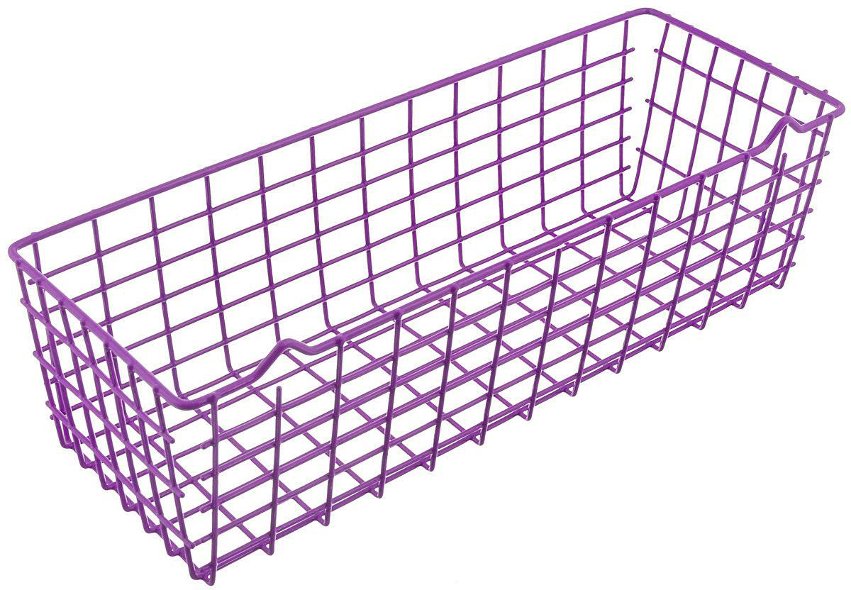 Корзина универсальная Metaltex Pandino, цвет: фиолетовый, 33 х 12 х 9 см74-0120Универсальная корзина Metaltex Pandino изготовлена из стали, покрытой краской с эпоксидным порошком. Изделие может использоваться для хранения принадлежностей для мытья посуды, различных бытовых предметов и мелочей, инструментов в гараже и много другого. Корзина оснащена специальными петельками для подвешивания к стене.