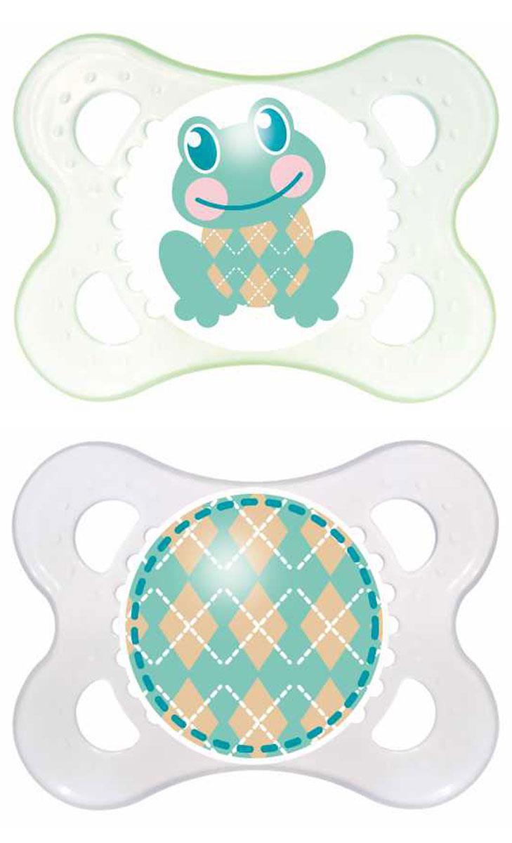MAM Пустышка силиконовая ортодонтическая Original от 0 до 6 месяцев цветзеленый прозрачный 2 шт mam пустышка силиконовая original от 6 до 16 месяцев цвет фиолетовый прозрачный 2 шт