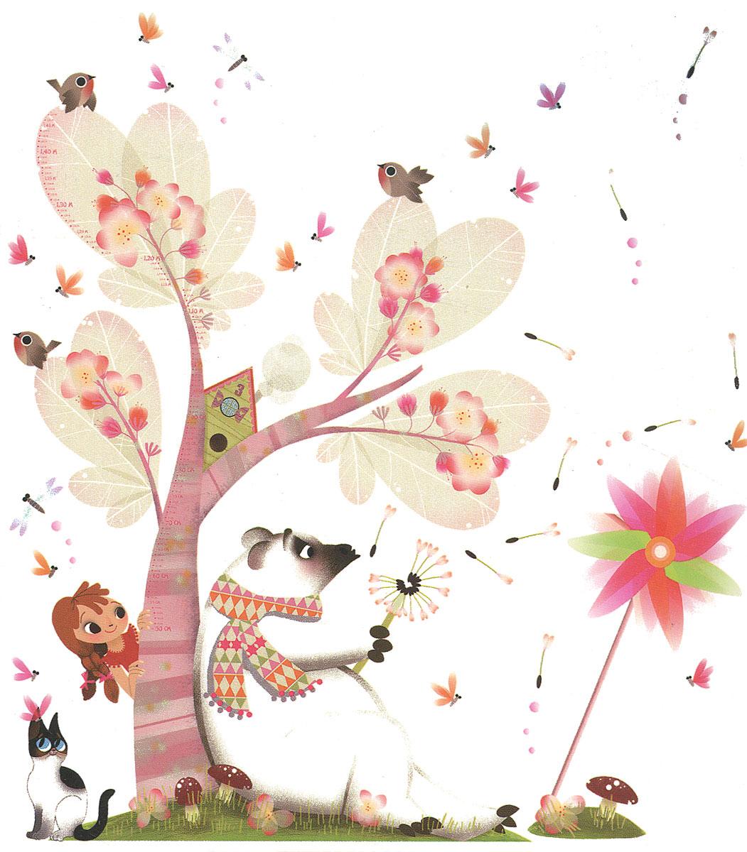 Janod Ростомер-стикер на стену Летний бриз 52 элементаJ02814Детский ростомер Летний бриз станет полезным и привлекательным украшением детской комнаты для вашего ребенка. Основой композиции является большое волшебное дерево, под которым сидит белый мишка. Судя по его позе, он погружен в какие-то сладкие грезы. Он дует на пушистый одуванчик и мечтательно наблюдает, как улетают белые невесомые парашютики. Девочка, которая выглядывает из-за дерева, с интересом подсматривает за медведем. На основную картину можно нанести дополнительные маленькие стикеры: птички, стрекозы, мотыльки, кошка, грибок на пригорке, парашютики одуванчика. Их можно приклеить на любое место на основном фоне.Ростомер стикер на стену Летний бриз превосходно украсит комнату и станет замечательным подарком для любой девочки от 3 лет. Он обязательно заинтересует маленькую мечтательницу и будет интересен ребенку долгое время. Красивая и оригинальная упаковка с ручкой для переноски, станет завершающим, но не маловажным, штрихом. Еще яркими наклейками можно фиксировать фотографии и рисунки любого размера - фоторамки не нужны! А можно наклеить наклейки на оконное стекло - будем смотреть на улицу сквозь веселые цветочки, а подоконник при этом не занят никакими горшками. А когда наклейки захочется переклеить на другое место, никаких следов на стекле не останется. С таким ростомером расти гораздо веселее!