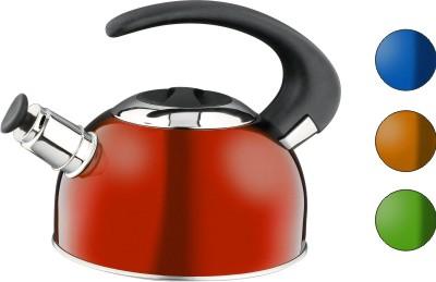 Чайник Calve, со свистком, цвет: красный, 1,8 л115510Чайник Calve изготовлен из высококачественной нержавеющей стали с термоаккумулирующим дном. Нержавеющая сталь обладает высокой устойчивостью к коррозии, не вступает в реакцию с холодными и горячими продуктами и полностью сохраняет их вкусовые качества. Особая конструкция дна способствует высокой теплопроводности и равномерному распределению тепла. Чайник оснащен бакелитовой удобной ручкой. Носик чайника имеет откидной свисток, звуковой сигнал которого подскажет, когда закипит вода. Подходит для всех типов плит, включая индукционные. Можно мыть в посудомоечной машине.Диаметр чайника (по верхнему краю): 10,5 см.Высота чайника (без учета ручки и крышки): 10 см.Высота чайника (с учетом ручки): 18 см.