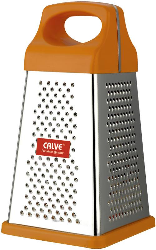 Терка четырехгранная Calve, цвет: оранжевый, высота 24,5 см3520455Четырехгранная терка Calve, выполненная из высококачественной нержавеющей стали с зеркальной полировкой, станет незаменимым атрибутом приготовления пищи. Сверху на терке находится удобная пластиковая ручка. На одном изделии представлены четыре вида терок - крупная, мелкая, фигурная и нарезка ломтиками. Нескользящий силиконовый протектор на основании предотвращает скольжение во время использования и защищает поверхность от повреждений.Современный стильный дизайн позволит терке занять достойное место на вашей кухне.Можно мыть в посудомоечной машине.