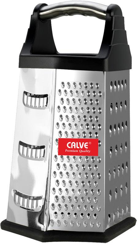 Терка шестигранная Calve, цвет: черный, стальной, высота 22,5 см54 009312Шестигранная терка Calve, выполненная из высококачественной нержавеющей стали с зеркальной полировкой, станет незаменимым атрибутом приготовления пищи. Сверху на терке расположена удобная ручка. Терка замечательна для простого и быстрого измельчения и нарезки продуктов на ломтики. На одном изделии представлены шесть видов терок - крупная, мелкая, терка для овощных пюре, фигурная, шинковка и шинковка фигурная. Нескользящий силиконовый протектор на основании предотвращает скольжение во время использования и защищает поверхность от повреждений.Современный стильный дизайн позволит терке занять достойное место на вашей кухне.Можно мыть в посудомоечной машине.
