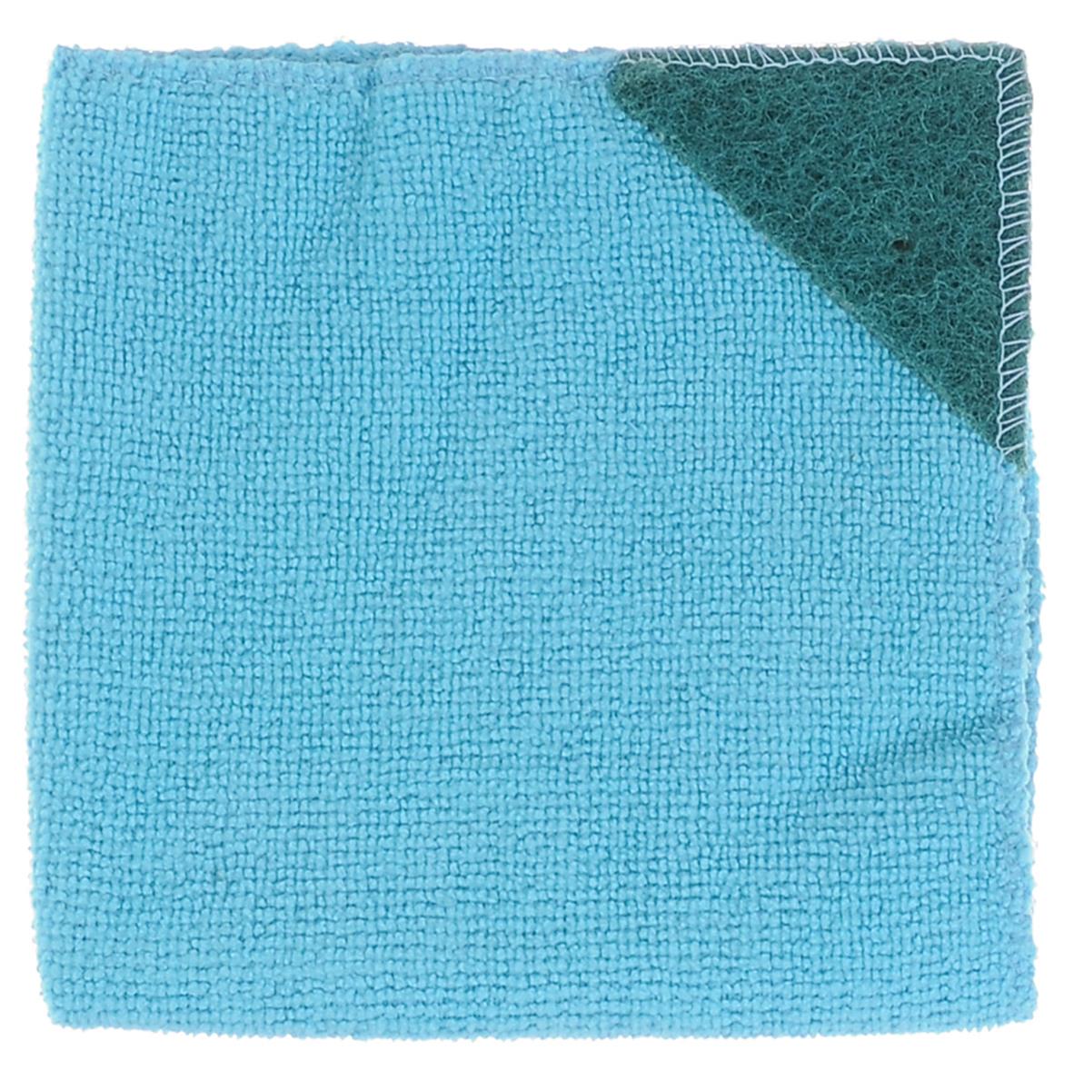Салфетка для кухни Eva, с абразивом, цвет: голубой, 30 см х 30 см531-105Салфетка Eva, выполненная из микрофибры, отлично удаляет загрязнения и впитывает влагу. Благодаря своей структуре, она не оставляет разводов, может удалять загрязнения без помощи чистящих средств и не оставляет ворса. Салфетка имеет абразивный уголок, что позволяет удалять особенно сложные загрязнения.Размер салфетки: 30 см х 30 см.