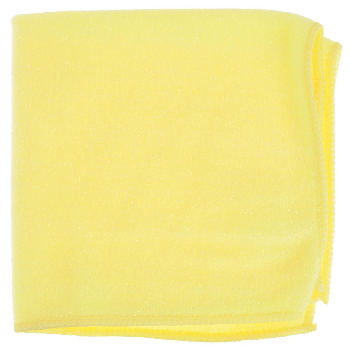 Салфетка из микрофибры York, двухсторонняя, для керамики, цвет: желтый, 30 х 30 см531-105Салфетка York, выполненная из микрофибры, оснащена абразивной сеткой, которая удаляет стойкие загрязнения различного происхождения с твердых неокрашенных и нелакированных покрытий, гладкая сторона эффективно очищает и полирует их. Салфетка из микрофибры эффективна для удаления засохших или пригоревших жировых пятен с плиты, керамической плитки и других поверхностей. Устраняет известковые подтеки и недавно появившиеся известковые отложения с сантехники, кранов, плитки, металлических, керамических, стеклянных и пластиковых поверхностей. Салфетка может использоваться для сухой и влажной уборки, в том числе с моющими средствами. Не оставляет разводов и ворсинок.Размер салфетки: 30 см х 30 см.