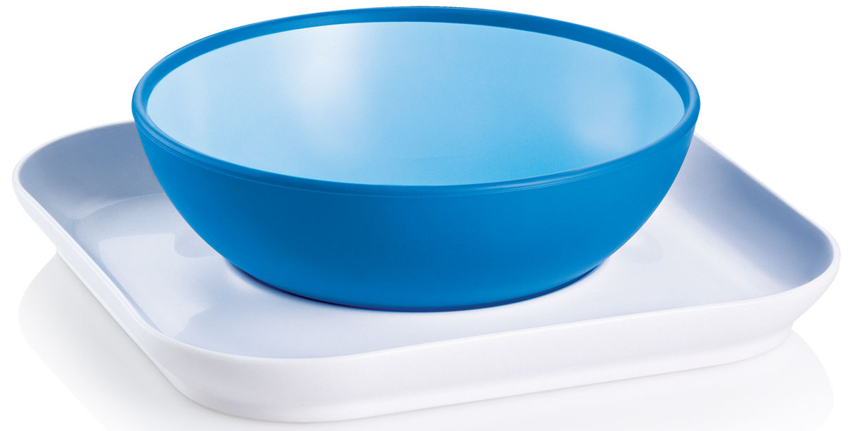 MAM Набор посуды для кормления Baby's Bowl & Plate цвет голубой