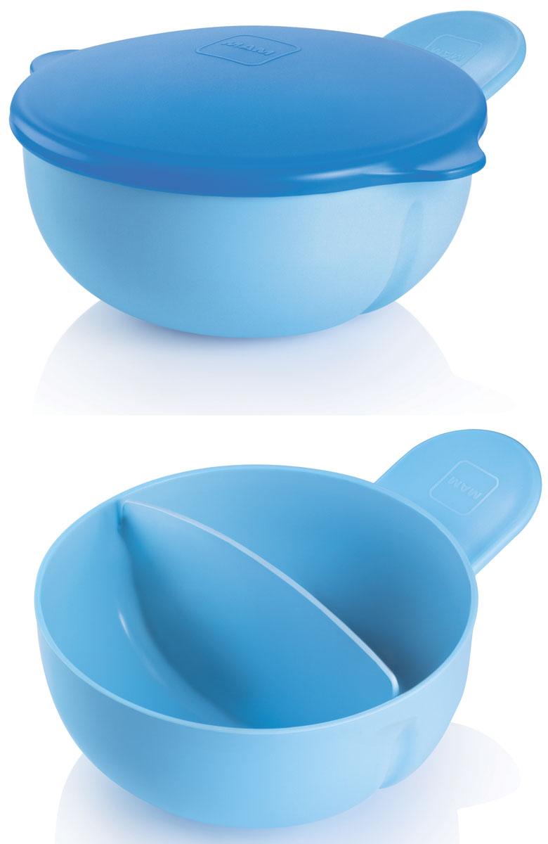 MAM Тарелка детская с крышкой цвет голубой115510Удобная ручка позволяет держать тарелку и ребенку и родителю, как с одной, так и с другой стороны в одной руке! 2 отдельных отсека идеально подходят для нескольких блюд и хранения еды. Плотная крышка позволяет эффективно использовать тарелку для хранения и использования вне дома.