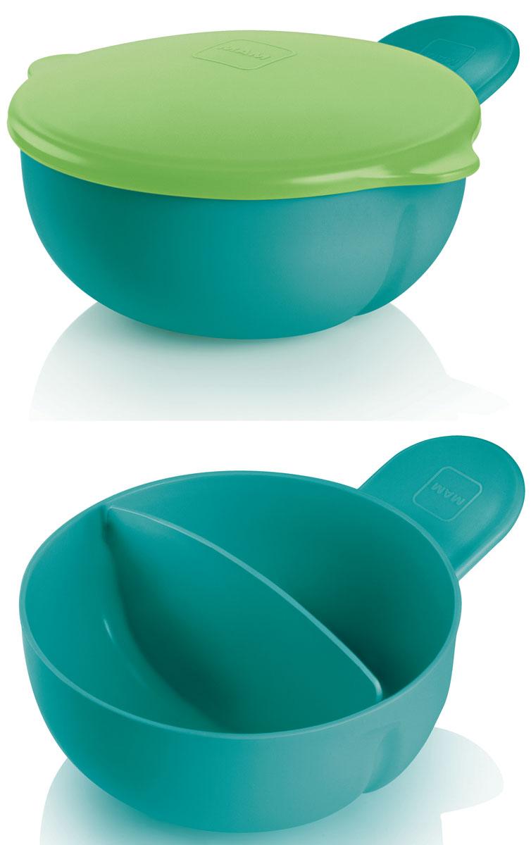 MAM Тарелка детская с крышкой цвет зеленый6610EXP/3Удобная ручка позволяет держать тарелку и ребенку и родителю, как с одной, так и с другой стороны в одной руке! 2 отдельных отсека идеально подходят для нескольких блюд и хранения еды. Плотная крышка позволяет эффективно использовать тарелку для хранения и использования вне дома.