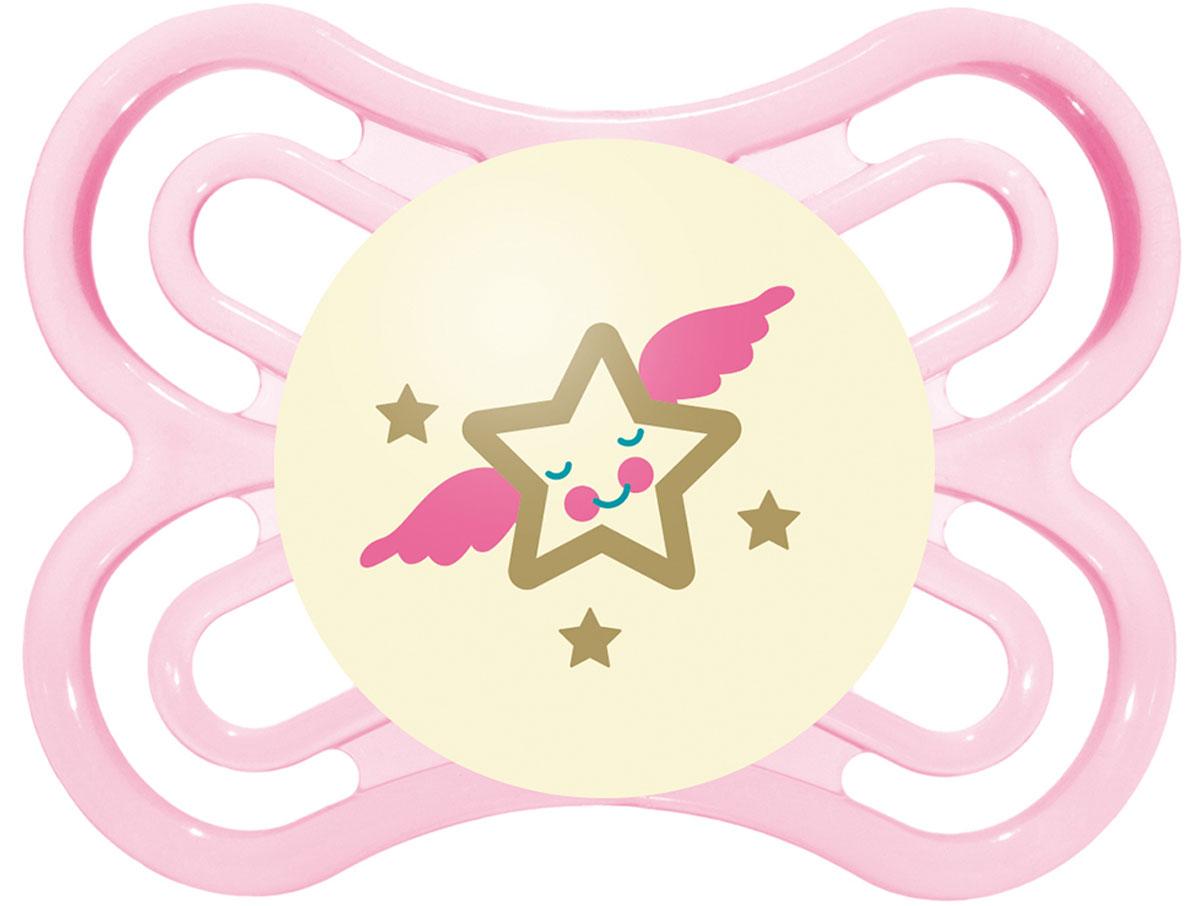 MAM Пустышка Perfect Night Звезда от 0 до 6 месяцев цвет розовый mam пустышка силиконовая original от 6 до 16 месяцев цвет фиолетовый прозрачный 2 шт