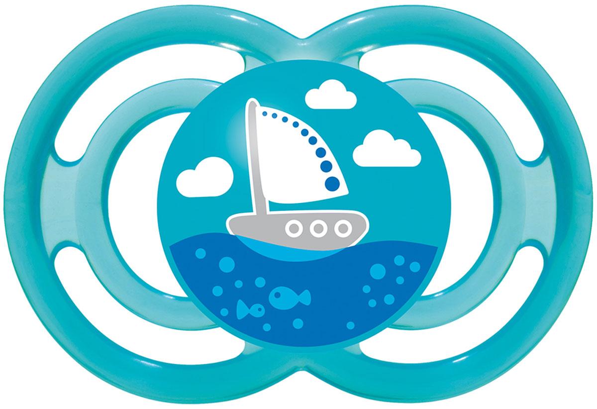MAM Пустышка Perfect Кораблик от 6 месяцев цвет голубой mam пустышка силиконовая original от 6 до 16 месяцев цвет фиолетовый прозрачный 2 шт