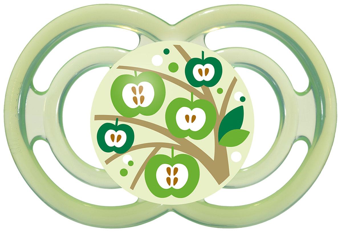 MAM Пустышка Perfect Яблоня от 6 месяцев цвет зеленый mam пустышка силиконовая original от 6 до 16 месяцев цвет фиолетовый прозрачный 2 шт