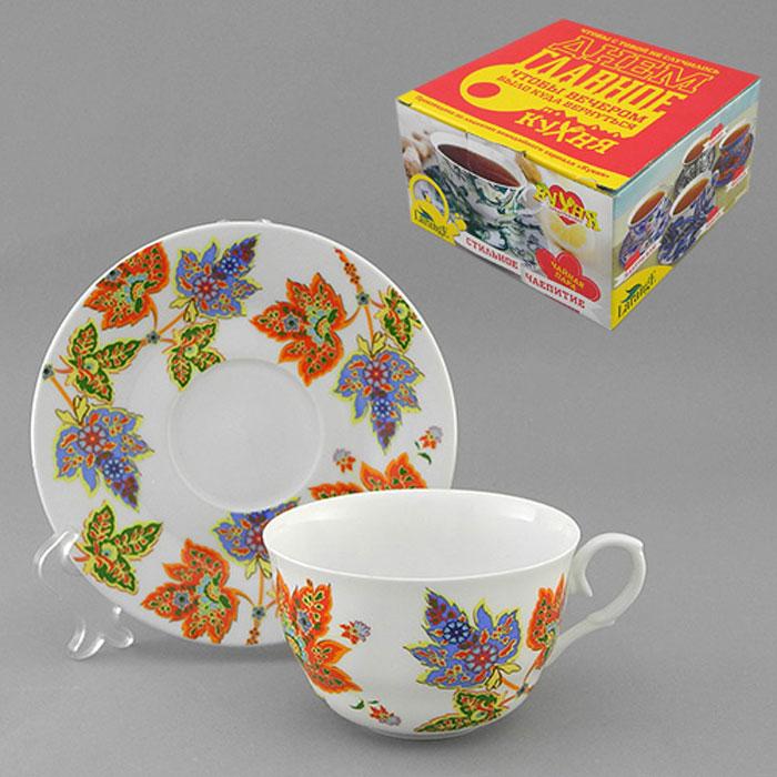 Набор чайный LarangE Восточный микс, 2 предмета115510Чайный набор LarangE Восточный микс состоит из чашки и блюдца, украшенных ярким рисунком в восточном стиле. Изделия выполнены из высококачественного фарфора, покрытого сверкающей глазурью. Такой набор станет украшением стола к чаепитию и порадует вас стильным дизайном и качеством исполнения. Хороший подарок к любому случаю. Допускается использование в микроволновой печи и холодильнике. Объем чашки: 225 мл. Диаметр чашки (по верхнему краю): 9,5 см. Высота чашки: 6 см. Диаметр блюдца: 15 см.