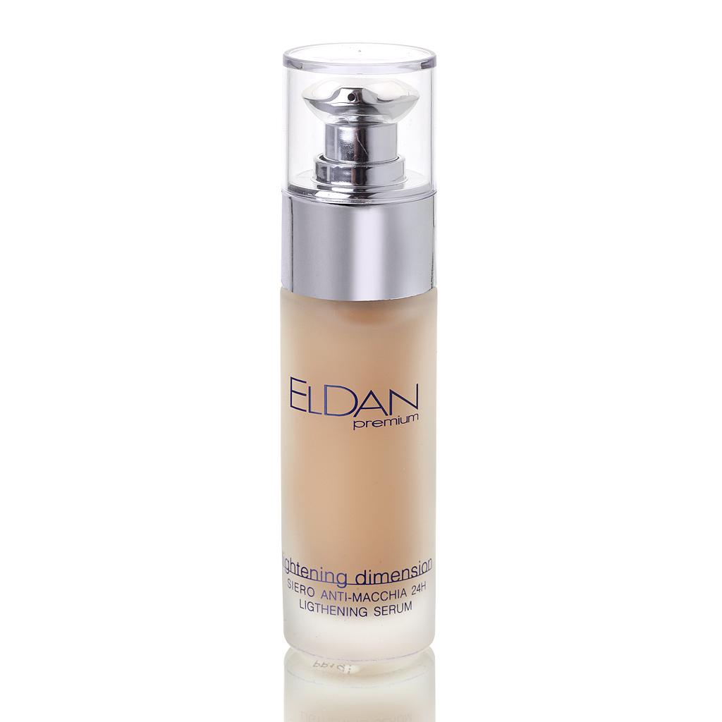 ELDAN cosmetics Отбеливающая сыворотка для лица Premium lightning dimention, 30 млELD-53Специальный отбеливающий комплекс - экстракт шелковицы, листьев толокнянки, и аскорбилфосфат магния актиыно блокирует (ингибирует фермент тирозиназу в меланоцитах, препятствуя синтезу меланина. Благодаря высокому содержанию витаминов В3, С и Е,средство помогает выровнить тон, улучшить текстуру кожи, повысить местный иммунитет. Эктсракты лимона и огурца смягчают, увлажняют, осветляют и тонизируют кожу. Ресвератрол, также входящий в состав, является мощным антиоксидантом и обладает эстрогеноподобной активностью, стимулирует синтез коллагена. После применения препарата существенно снижается интенсивность пигментных пятен, тон кожи высветляется, усиливается обмен веществ, повышается упругость и эластичность.