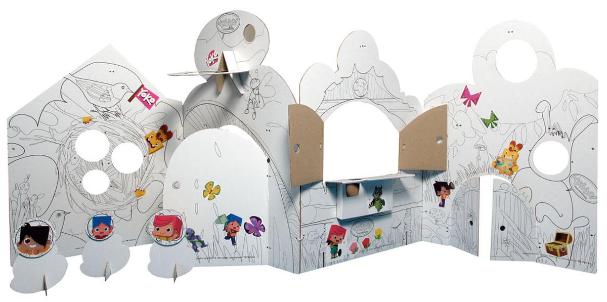 Yoh-ho! Kids Игровой домик Театральная ширма-раскраска с реквизитом для представления надолго увлечет вашего ребенка и, непременно, порадует всю семью. Ширма-раскраска изготовлена из бело-бурого гофрокартона с красочными типсами для представлений. Маленькие цветные типсы FischerTiP - уникальный материал для детского творчества. Они из картофельного крахмала и натуральных пищевых красителей, а поэтому абсолютно безопасны. Ребенок сам придумает себе игру или спектакль. Главное дать ему необходимый реквизит и не мешать! На вывесках можно написать нужное действие: АНТРАКТ, АПЛОДИСМЕНТЫ, СМЕХ В ЗАЛЕ и обозначить игру: БУФЕТ, КАССА. Театральная ширма имеет ножки и боковые дырки для крепежа к мебели пластиковыми хомутиками для лучшей устойчивости. Создайте вместе с ребенком семейный домашний театр - приглашайте родственников, соседей, друзей на премьеры. Может, вы растите нового Феллини или Станиславского?